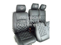 VW TRASNPORTER T5 VAN SEAT COVERS BLACK BENTLEY + GREY STITCH + VW EMBRODIERY ON HEAD REST COVER