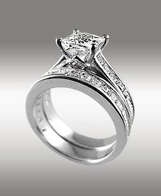 3.80 Ct Princess Cut Engagement Ring w Matching Bridal Band 14K Solid White Gold