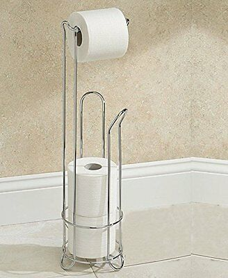 AH&R International Chrome Wire Frame Bathroom Toilet Paper Roll Holder Standing