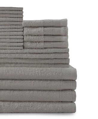 24 Piece Multi Count 100perscent Cotton Complete Towel Set, Graphite Grey  New