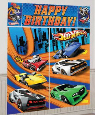 HOT WHEELS RACE CARS Scene Setter HAPPY BIRTHDAY party wall BACKDROP kit 6'