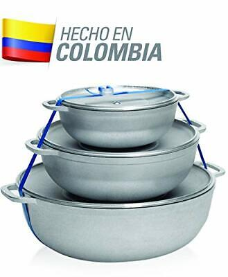 IMUSA USA R200-CALDERO22C Traditional Colombian Natural Caldero Set 3-PcSilver