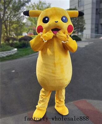Pikachu Mascot Costume (2018 Adult Pikachu Mascot Costume Suit Halloween Pokemon Go Dress Party)