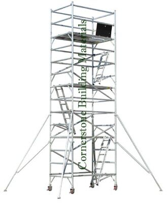 Aluminum Scaffold Rolling Tower 20 Deck High With Guard Rail Access Ladder Cbm
