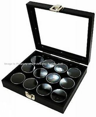 1 Glass Top Lid Black 12 Jar Box Case Display Gems Body Jewelry Gold Nuggets