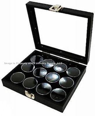 1 Glass Top Lid Black 12 Jar Box Case Display Gems Body Jewelry Gold Nuggets