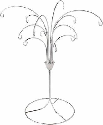 ADORABLE Decorations Metal Christmas 12 Ornament Display Holder Silver Tree