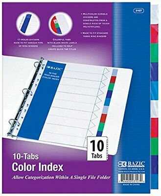 Bazic 3 Ring Binder Dividers With 10 Color Index Tabs 3107