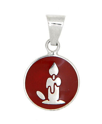 STERLING SILVER CHRISTMAS CANDLE DISC WITH RED ENAMEL CHARM OR PENDANT