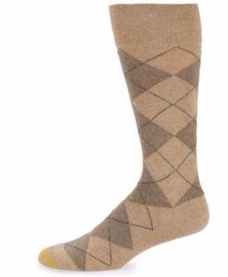 GOLD TOE Men's Argyle Premier Cotton Blend Dress Socks, Brown/Tan, 10-13 ()