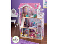 Boxed New Kidkraft Annabelle Dollhouse, Large Wooden Doll House with Lift fits barbie doll RRP£120