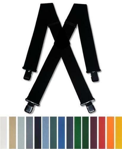 Mens Heavy Duty Braces Black Blue Red Green Brown Hi Viz Grey Trouser Suspenders