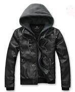 Mens Leather Jacket Hoodie