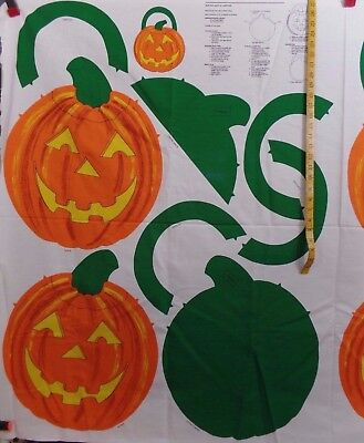 Halloween Lanterns To Make (QUILTED JACK O'LANTERN TO MAKE  100% COTTON FABRIC PANEL VINTAGE )