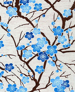 CHERRY BLOSSOM BRANCHES: BLUE ASIAN JAPANESE ORIENTAL QUILT FABRIC (1/2 YD)