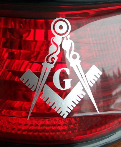 "ProSticker 008 (4 Pack) 3"" Masonic Silver Decals Freemason Car Truck Tail Light"