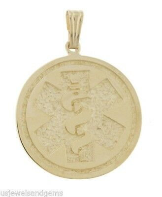 New 10k or 14k Yellow Gold Medical Alert ID Circle Pendant Charm