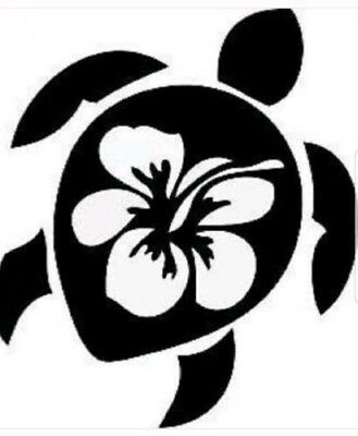 SEA TURTLE HIBISCUS Vinyl Decal -Sticker for Car Truck Bumper Wall Window  -