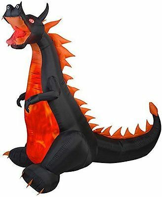 HALLOWEEN FIRE DRAGON LIGHTS & ANIMATION HAUNTED INFLATABLE AIRBLOWN 7 FT TALL - Halloween Inflatables Dragon