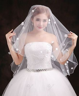 2016 New White/Ivory 2T small diamond flower Bridal Veil With comb * US SELLER (Diamond White Veils)
