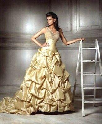 $2400 ATELIER DIAGONAL IVORY GOLD WEDDING DRESS SIZE 8 STUNNING & BEAUTIFUL!