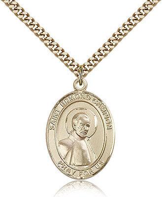 Saint Edmund Campion Medal For Men - Gold Filled Necklace On 24