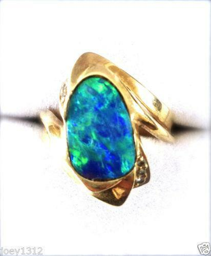 Australian Black Fire Opal Ring