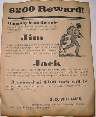 Runaway Slave Reward Poster  1860 Repro  Slavery  Civil War Era  Wanted