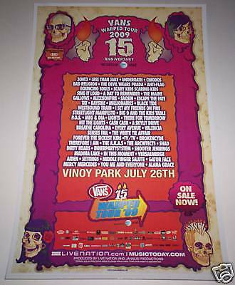 Warped Tour 2009 ORIGINAL CONCERT POSTER 3OH!3 Chiodos FREE SHIPPING