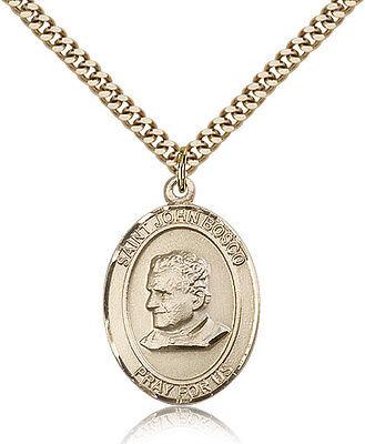 Saint John Bosco Medal For Men - Gold Filled Necklace On 24