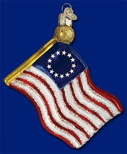 Old World Christmas FLAG Patriotic Ornament HandBlown GLASS Handpainted 4th July