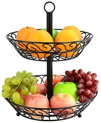 2-Tier Countertop Fruit Basket Holder & Decorative Bowl Stand Perfect for Fruit