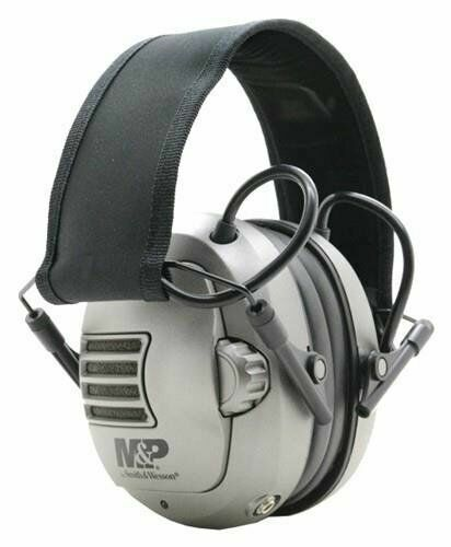 NEW M&P Premium Electronic Earmuff w Silver Earcups, Black/S