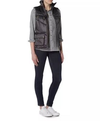 Barbour International Womens Chicane Gilet Quilted Gray Vest Sz US 10/UK 14 NWT