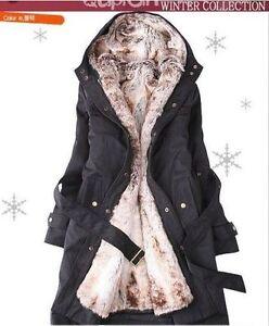 Women's Winter Coat with Faux Fur Ling 2in 1 Hood Fur Parka Overcoat Long Jacket