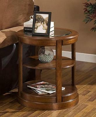 Glass Top Round End Table Coffee Modern Furniture Sofa Tables Decor Accent