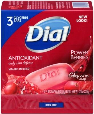 DIAL Glycerin Soap Bars With Power Berries, 4 Oz Bars, 3 ...