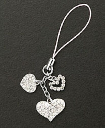 Crystal Hearts Silver Plated Dangle Cell Phone Charm Christm