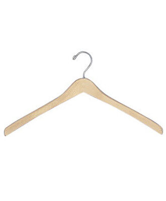 Wooden Contoured Coat Hanger 17 Inches With Silver Hooks - Case Of 50