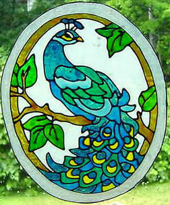 Pretty Peacock Faux Stained Glass Window Cling