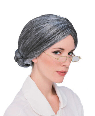 Grey Old Lady Grandma Wig for Halloween Costume - Old Lady Halloween Wig