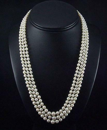 Vintage Pearl Choker Necklace: Vintage Akoya Pearl Necklace