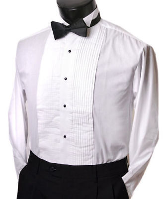 Formal Tuxedo Shirt with black Bow tie Wing collar studs and buttons all sizes Formal Wing Collar Tuxedo
