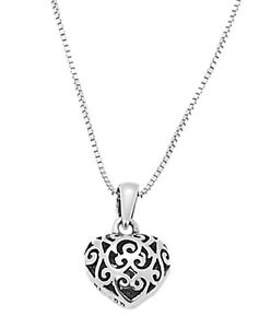 STERLING-SILVER-FILIGREE-PUFF-HEART-CHARM-WITH-BOX-CHAIN-NECKLACE