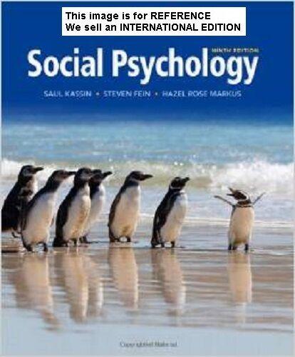 Social Psychology by Steven Fein, Hazel Markus, Saul M. (Int' Ed Paperback)9Ed