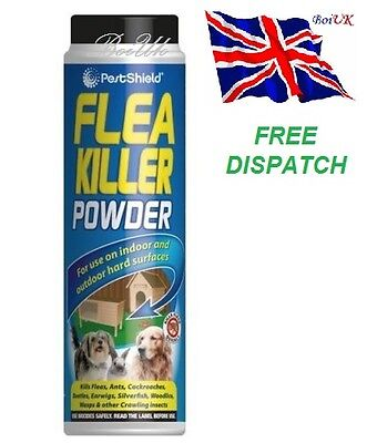 FLEA KILLER POWDER CONTROL FLEAS CARPET BEETLES ANTS COCKROACHES PET DOG 200G