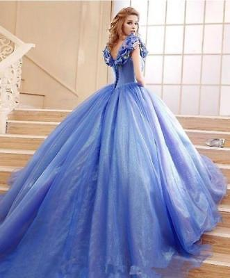 Cinderella Prom Quinceanera Ball Gown Tulle Halloween Evening Dress Party Gowns (Halloween Ball Gown)
