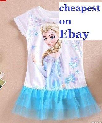 Frozen Tutu Dress Elsa  blue childrens kids girls UK STOCK cheapest on EBAY