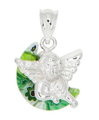 STERLING SILVER MILLEFIORI GREEN ITALIAN MURANO GLASS ANGEL CHARM OR PENDANT