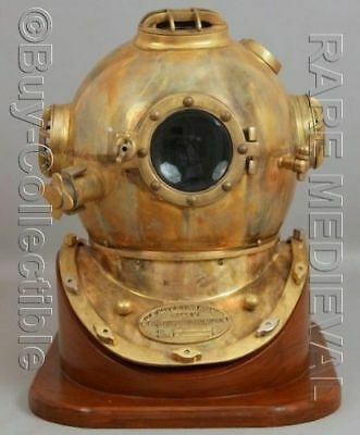 Other Maritime Antiques Dependable Vintage Anchor Us Navy Mark Iv Diving Divers Helmet Solid Brass Full Size Gift High Quality Materials